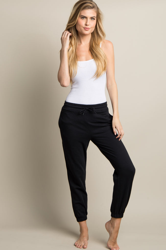 Black Drawstring Maternity Sweatpants