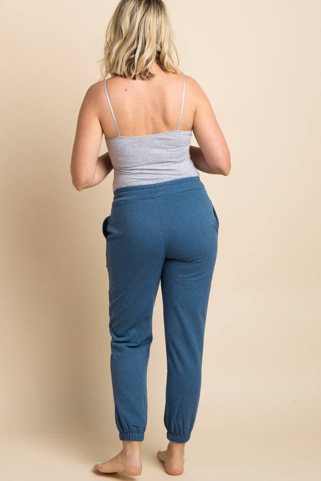 Blue Drawstring Maternity Sweatpants