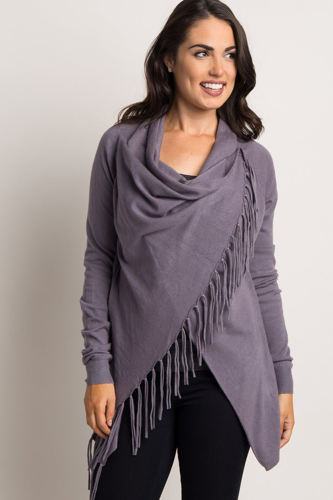 Purple Wrap Fringe Maternity Cardigan