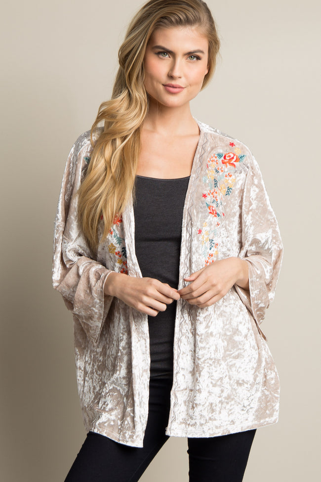 Cream Embroidered Crushed Velvet Maternity Kimono