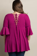Magenta Lace-Up Back Crochet Accent Plus Maternity Top