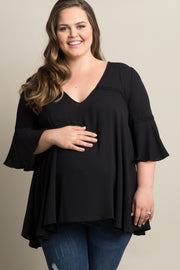 Black Lace-Up Back Crochet Accent Plus Maternity Top