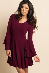Burgundy Solid Ruffle Sleeve Pleated Flare Dress