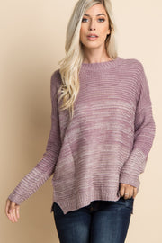 Mauve Heathered Knit Ombre Sweater