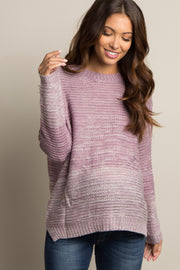 Mauve Heathered Knit Ombre Maternity Sweater