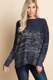 Navy Heathered Knit Ombre Sweater