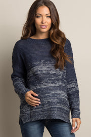 Navy Heathered Knit Ombre Maternity Sweater