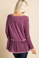 Magenta Faded Wash Peplum Top