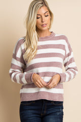 Mauve Striped Long Sleeve Knit Sweater