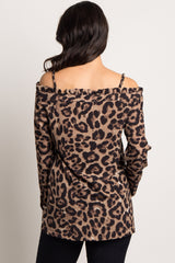 Mocha Leopard Print Open Shoulder Top