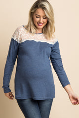 Blue Crochet Mesh Accent Maternity Top
