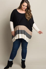 Black Colorblock Dolman Sleeve Plus Maternity Top