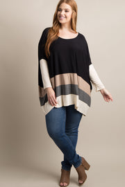 Black Colorblock Dolman Sleeve Plus Top