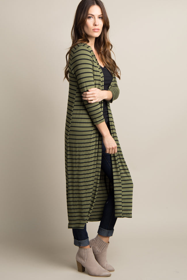 Olive Green Striped 3/4 Sleeve Long Cardigan
