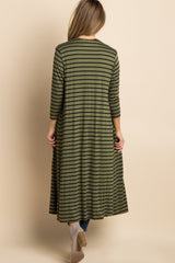 Olive Green Striped 3/4 Sleeve Long Maternity Cardigan