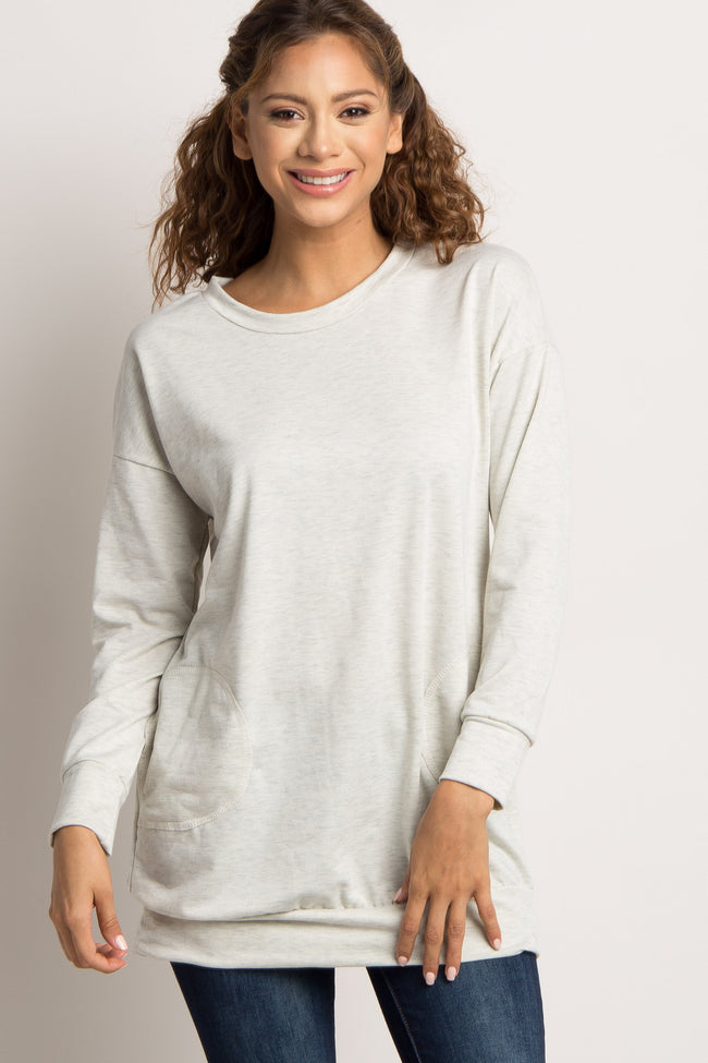 Beige Heathered Front Pocket Maternity Sweater