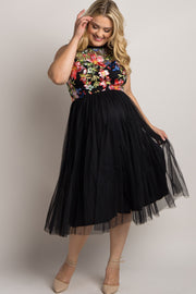 Black Floral Embroidered Top Tulle Plus Maternity Midi Dress