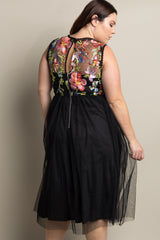 Black Floral Embroidered Top Tulle Skirt Plus Midi Dress