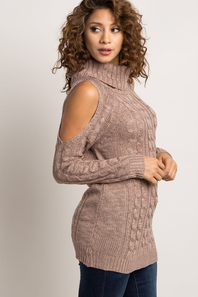 Taupe Cowl Neck Cold Shoulder Knit Sweater
