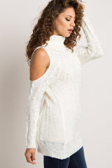 Ivory Cowl Neck Cold Shoulder Knit Sweater