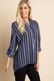 Navy Pinstriped Chiffon Blouse