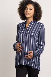 Navy Pinstriped Chiffon Maternity Blouse