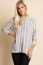 Ivory Striped Chiffon Blouse