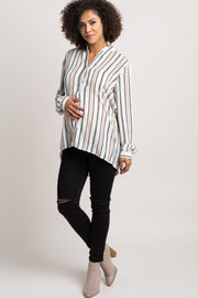 Ivory Striped Chiffon Maternity Blouse