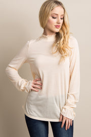 Ivory Ruffle Smocked Neck Sleeve Tie Top