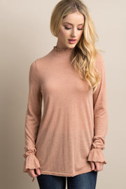 Mauve Ruffle Smocked Neck Sleeve Tie Top