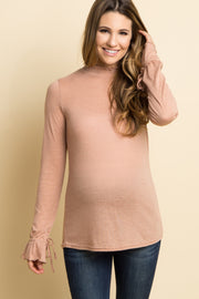 Pink Ruffle Smocked Neck Sleeve Tie Maternity Top