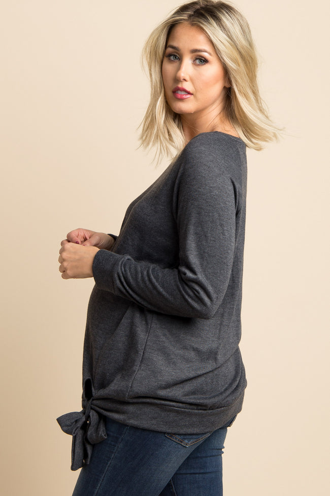 Charcoal Grey Solid Front Tie Maternity Top