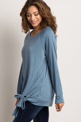 Light Blue Solid Front Tie Top