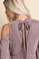 Lavender Pleated Cold Shoulder Cutout Midi Dress