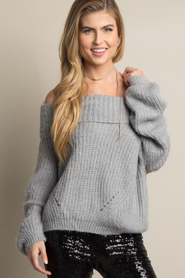 Heather Grey Fuzzy Knit Off Shoulder Sweater