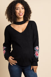 Black Cutout Embroidered Sleeve Knit Maternity Sweater