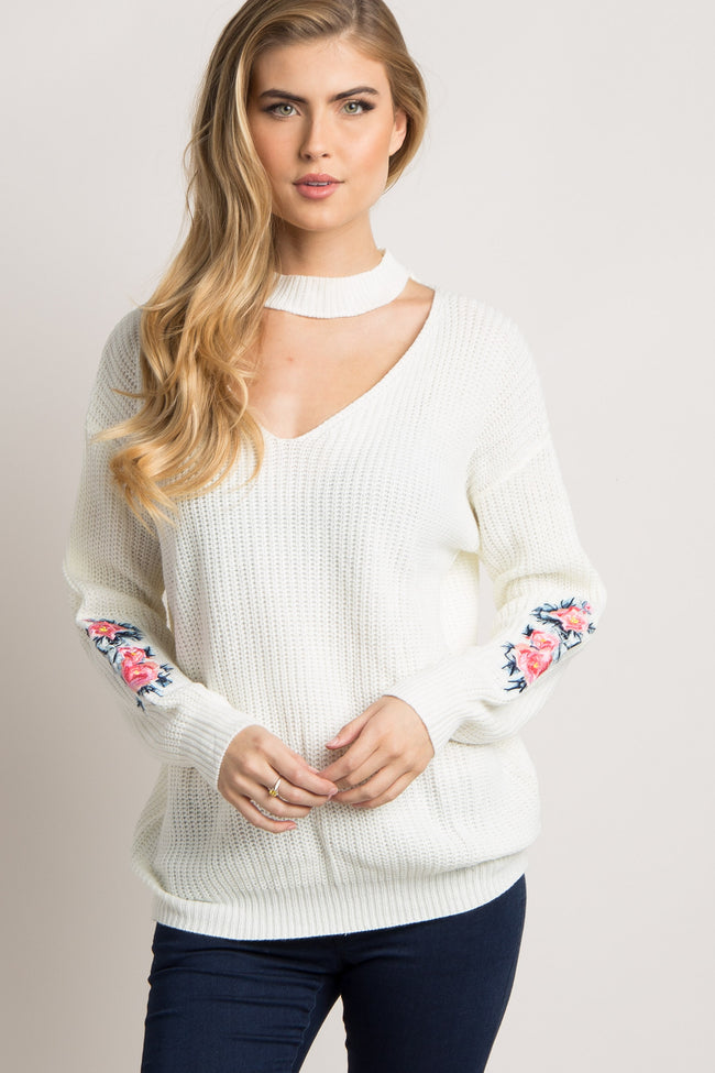 Ivory Cutout Embroidered Sleeve Knit Sweater