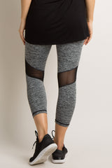 Grey Side Mesh Panel Active Capri Maternity Leggings