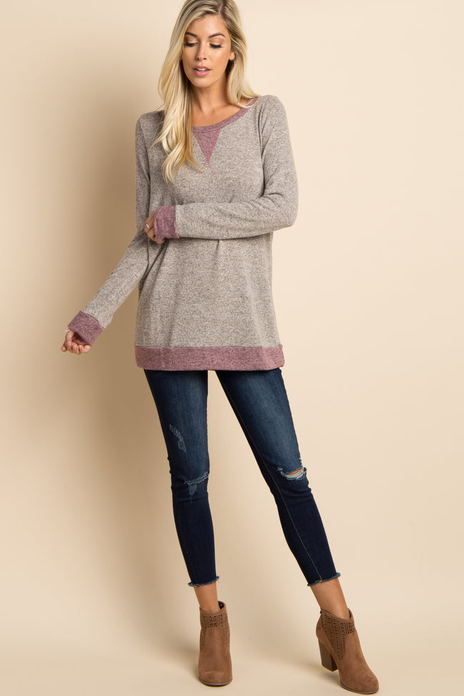 Taupe Heathered Colorblock Soft Knit Top