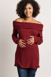 Burgundy Cowl Neck Suede Elbow Maternity Sweater