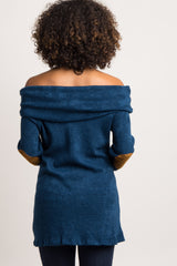 Teal Cowl Neck Suede Elbow Maternity Sweater