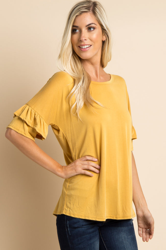 Yellow Solid Ruffle Sleeve Top