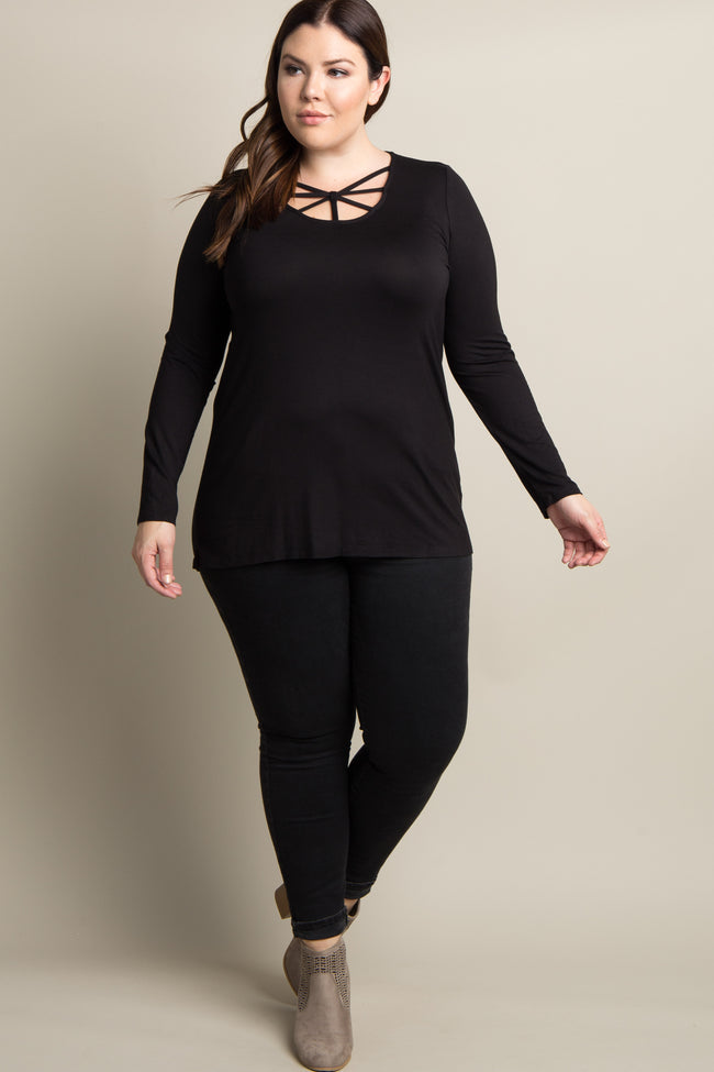 Black Solid Caged Front Plus Top