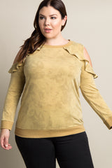 Yellow Faded Wash Cold Shoulder Plus Sweater