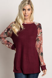 Burgundy Floral Colorblock Soft Knit Top