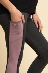 Mauve Colorbock Mesh Ladder Accent Active Maternity Leggings