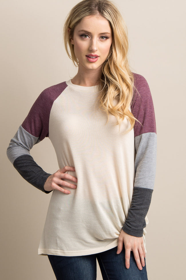 Ivory Colorblock Sleeve Knot Top