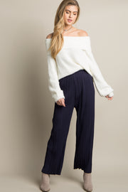 Navy Blue Pleated Chiffon Pants