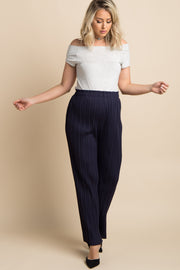 Navy Blue Pleated Chiffon Maternity Pants