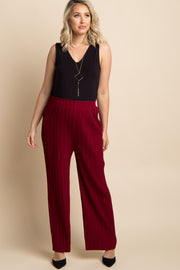 Burgundy Pleated Chiffon Maternity Pants